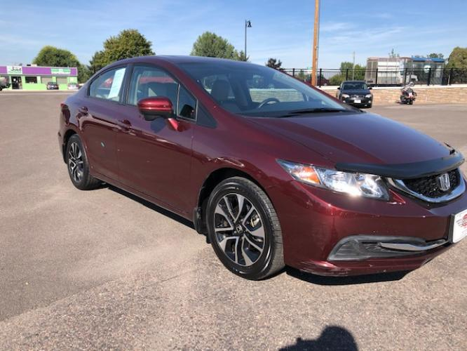 2015 Red Honda Civic EX Sedan CVT (19XFB2F83FE) with an 1.8L L4 SOHC 16V engine, Continuously Variable Transmission transmission, located at 450 N Russell, Missoula, MT, 59801, (406) 543-6600, 46.874496, -114.017433 - Photo #0
