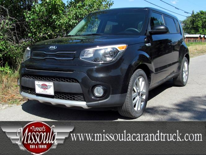 2017 Black Kia Soul + (Plus) (KNDJP3A55H7) with an 2.0L L4 DOHC 16V engine, 6-Speed Automatic transmission, located at 450 N Russell, Missoula, MT, 59801, (406) 543-6600, 46.874496, -114.017433 - Photo #0